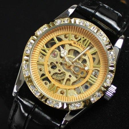 Women s Crystal Gold Automatic Mechanical Wrist Watch Drop Shipping Image