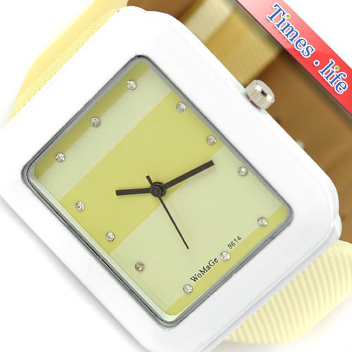 Yellowish Grid Square Quartz Battery Women Watch Girl Leather Band Gift iw2415