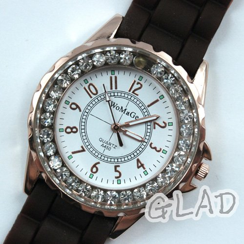 Leather 23 cm Round watch Glass Mechanical Hand Wind 7049