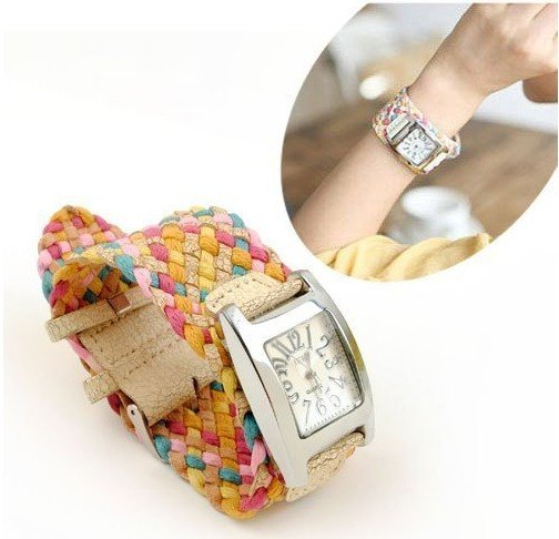 best hot korea rope woven cracked leather watch ladies knit band wide belt rainbow wristwatch 7