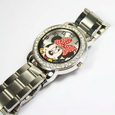 free ship 3pcs lot Lady s Cartoon Mickey Mouse Stainless steel Bracelet Watch stainless steel material