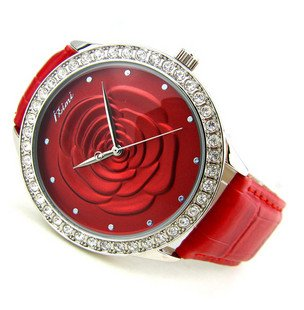 Angel flower Leather Ladies Watch Stereo sweet flowers Dazzling Rhinestone band watch Holiday gift