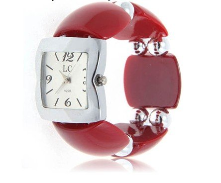 Fashion LC Numerals Strips Hour Marks Quartz Wrist Watch for Female 1658 Red