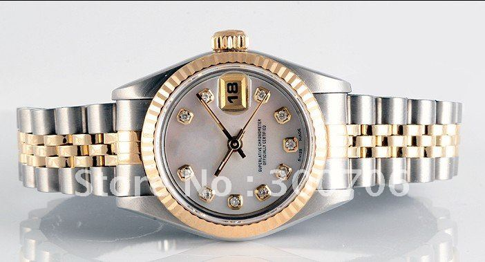 wholesale Ladies two tone Datejust MOP diamond dial 1996 Women s Watches Box And