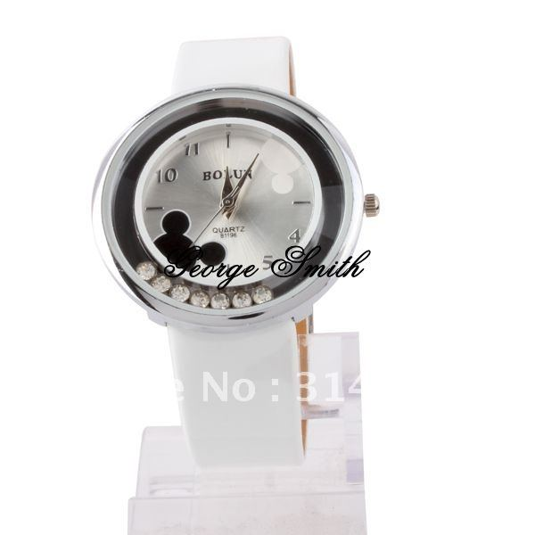 watch011 New watch women s Watch Transparent Dial Quartz Wristwatches with PU Strap two color mickey